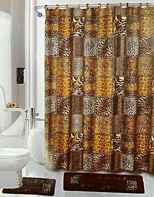 Safari Brown 15 Piece Bathroom Set Animal Print Bath Rugs Shower Curtain Rings