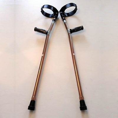Forearm Crutches Walking Lightweight Adjustable Size M (Pair) Bronze Color NEW