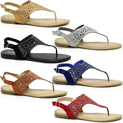 Ladies Leather Sandals Womens Strappy Toe Post Gladiator Summer Beach Shoes Size