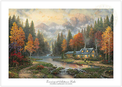 Thomas Kinkade Evening at Autumn Lake 18 x 27 S/N Limited Edition Paper
