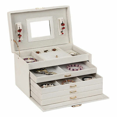 Pink Extra Large Jewellery Box Cabinet Armoire Rings Beads Clips 5 Drawers ZG209