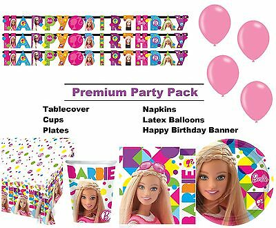 Barbie Sparkle 8-48 Guest Premium Party Pack - Tableware | Banner | Balloons