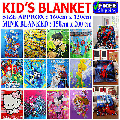 New Kids Blanket Boys Girls Polar Fleece Winter Throw Disney Frozen Monster High