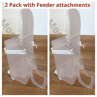 2 Pk 0.5kg SEED HOPPER PLASTIC FOR AVIARY & CAGE BIRDS Finches/Budgies/Canary