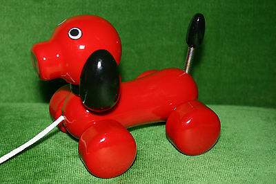 Rare Pull Toy Red Dog Collectible Kouvalias Greece New Unused