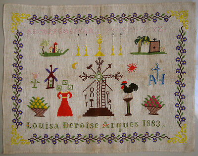 1883 Antique French Wool Work Sampler Signed 'louisa Deroise, Arques'