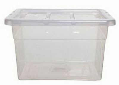 40cm Spacemaster Maxi Clear 20 Litre Storage Box with Lid - 40 x 33 x 25