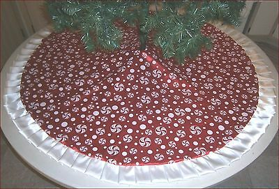 "Christmas Tree Skirt ~ 57"" ~ Shiny Red with Peppermints - Custom Made"