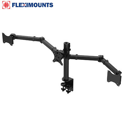 Triple Monitor Arms Full Motion Desk Mount Stand for 3 LCD Screens up to 27""