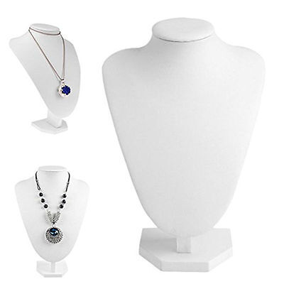"""10pcs White Imitation Leather Necklace Display Bust Jewelry Stands Holder 9.8"""""""