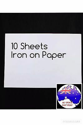 10 Sheets A4 Iron On Transfer Paper Inkjet Print Light Fabrics Print Own Designs