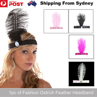 New Ostrich Feather Headband Fashion Headdress 20-35cm with Sequins Auger Indian