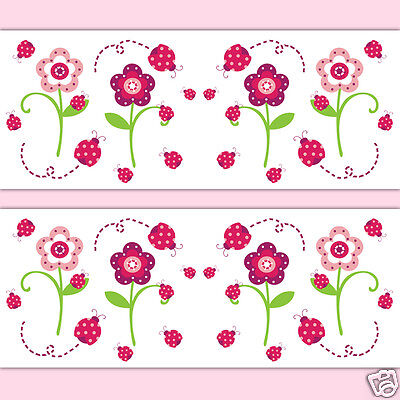 Ladybug Wallpaper Border Wall Art Decals Baby Girl Floral Nursery Stickers Decor
