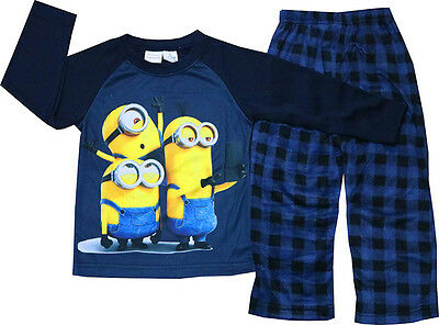 New Sz 2-8 Kids Boys Pj Winter Fleece Minion Cotton Pyjamas Sleepwear Pjs Tees