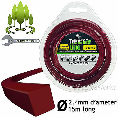 Square 2.4mm 15m Long Strimmer Trimmer Brush Cutter Line Petrol Spool Refil