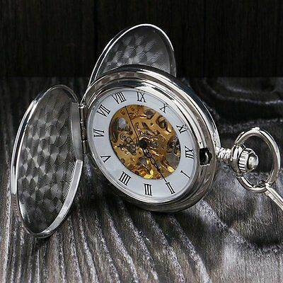 Silver Smooth Mechanical Double Full Hunter Skeleton Pocket Watch Mens Xmas Gift
