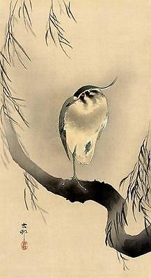 Japanese Reproduction Woodblock Print 4 by Ohara Koson on Cream Parchment Paper.
