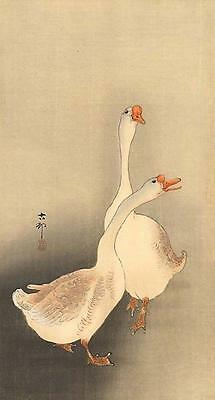 Japanese Reproduction Woodblock Print 7 by Ohara Koson on Cream Parchment Paper.
