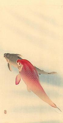 Japanese Reproduction Woodblock Print 8 by Ohara Koson on Cream Parchment Paper.