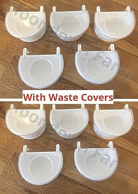 10 X Plastic D Cups & Lids Large 7.5Cm For Cage Birds,finches, Budgies, Canaries