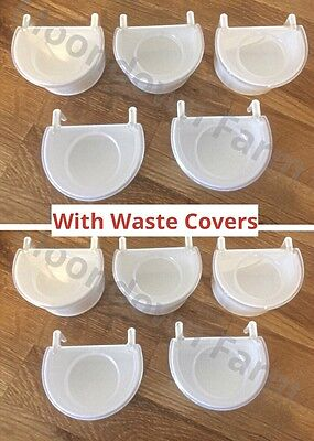 10x Plastic D Cups & Anti-Waste Lids 7.5CM With Hooks For Finch, Canary, Budgie