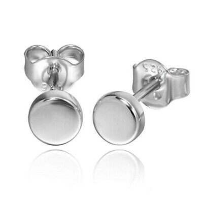 Chic Solid 925 Sterling Silver Small Flat Dot Disc Plain 5mm Round Stud Earrings