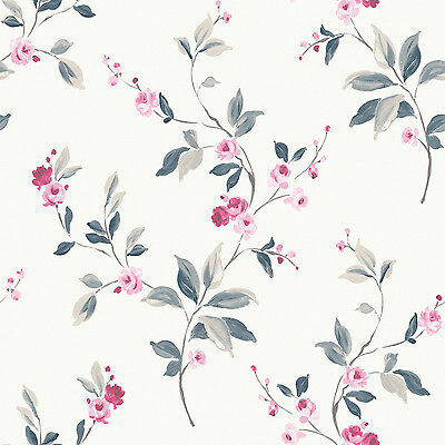 Tivoli White Pink Rose Wallpaper Traditional Floral Design by Rasch 209303