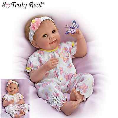 Ashton Drake  'Butterfly Kisses & Flower Petal Wishes' weighted Baby Doll