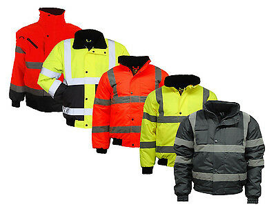Mens Hi Vis Visibility Viz Bomber Jacket | Waterproof | Work Wear | 2 Tone