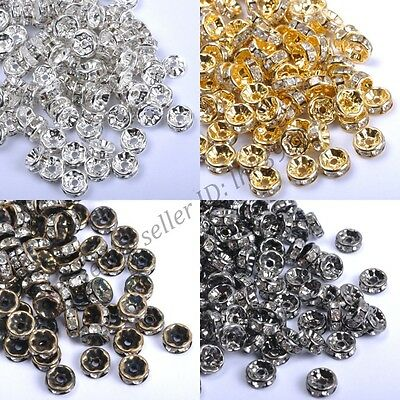 50Pcs GOLD & SILVER & BRONZE Czech Crystal Rhinestone Rondelle Spacer Beads