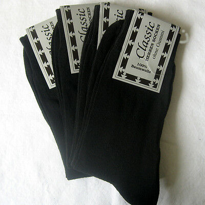 4 Pair Men's socks without elastic 100% Cotton straight Structure black 39 - 42