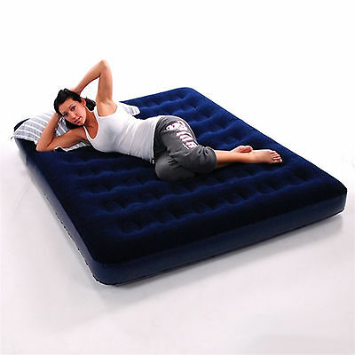 Double Inflatable Flocked Blow Up Air Bed Airbed Guest Camping Mattress