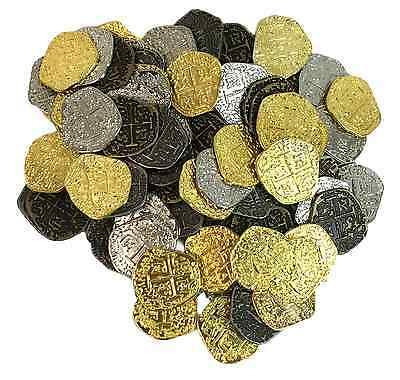 Metal Pirate Treasure Coins - Set of 500 Gold and Silver Doubloon Replicas