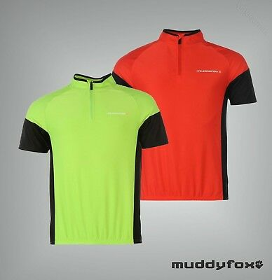 Junior Boys Muddyfox Breathable Short Sleeved Cycling Jersey Top Size Age 7-13