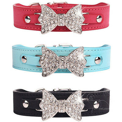 Dog Collar Bling Crystal Bow leather Pet Collars Puppy Choker Cat Necklace S M L