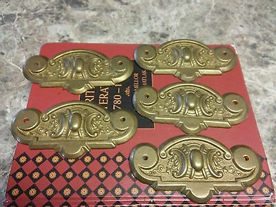 Set of 5 antique solid brass Rittenware back-plates