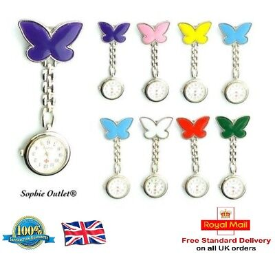 Stainless Steel Butterfly Nurse Fob Watch Brooch Tunic Watches Free Battery