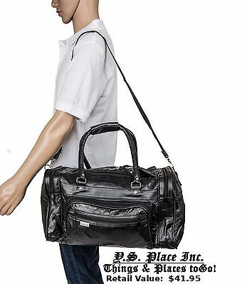 Black Leather Large Gym Bag Traveling Carry on Satchel Tote Duffel Bag