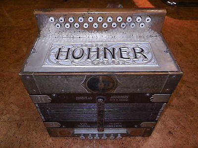 Hohner Ironclad button accordion in AD with 12 basses just restored & tuned