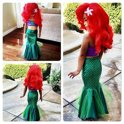 Baby Girls Little Mermaid Set Costume Bikini Swimwear Swimsuit Outfits Dress