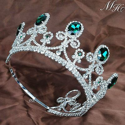 Royal Emerald Tiaras Green Crystal Crowns Wedding Headband Pageant Prom Party