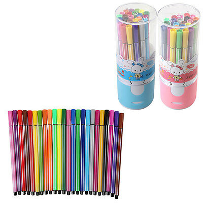24pcs Water Coloured Colour Pens Marker Non Toxic Texta Kid Painting Drawing