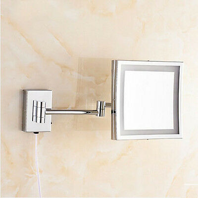 Bathroom LED Light Make-Up Mirrors Wall Mounted Square Mirror Chrome Finish