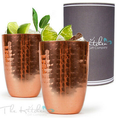 Set Of 2 Copper Cups - Cocktail Mug For Moscow Mule Cocktails & Drinks, Bar Gift