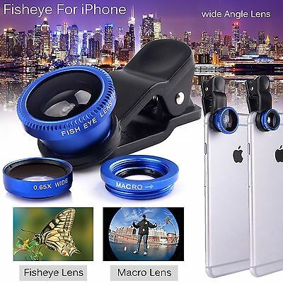 3 in 1 Fisheye Wide Angle Macro Lens Clip-On Camera Kit for iPhone 6S 6 Samsung
