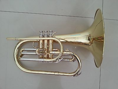 Brand New Gold Lacquer Marching Mellophone with Free Case