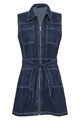3cdebe24db3 New Womens Denim Sleeveless Zip Pockets Shirt Collar Mini Short Dress UK  6-16