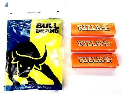 Bull Brand Standard 8mm Filter Tips 3 x Rizla Liquorice Rolling Cigarette Papers