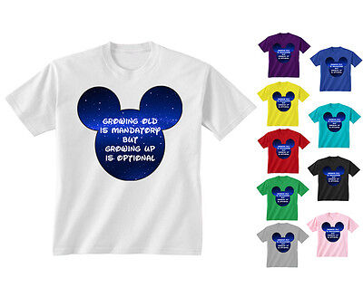 Kids Childrens Growing Old Is Mandatory Disney Quote Mickey Ears T-shirt