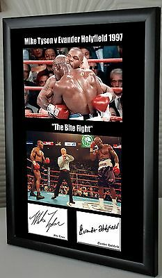 "Mike Tyson  Evander Holyfield ""Bite Fight"" Framed Canvas Print Signed Great Gift"